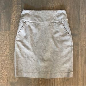 Grey High-waisted Pencil Skirt w/ Stretch